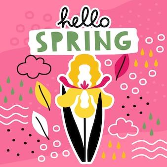 Olá primavera mão desenhado modelo com colagem de flores.