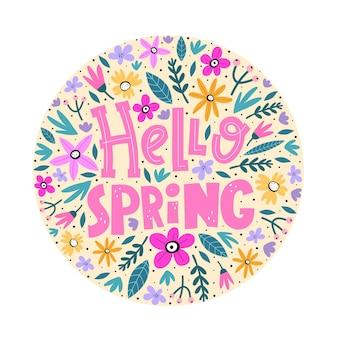Olá primavera. mão desenhando letras