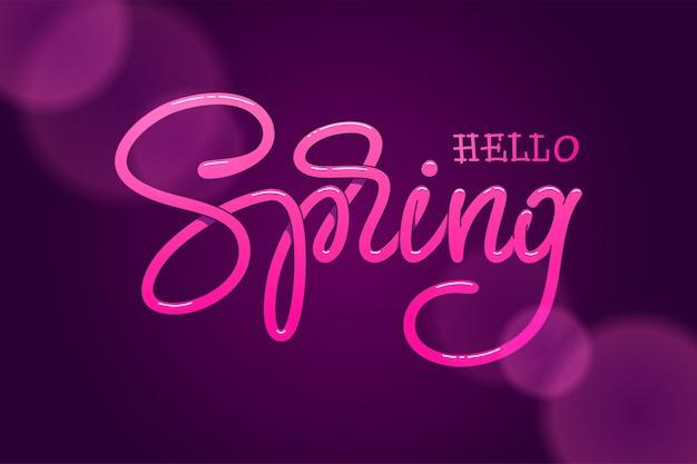 Olá primavera mão esboçou logotipo sobre um fundo violeta escuro. letras artesanais para cartão de felicitações, modelo de convite, banners. ilustração.