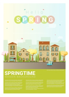 Olá primavera paisagem urbana