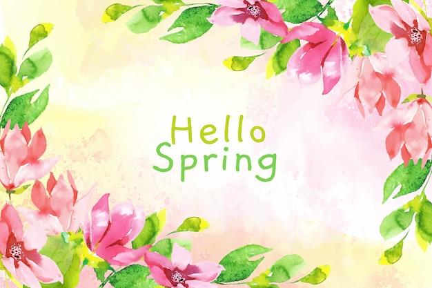 Olá primavera papel de parede aquarela