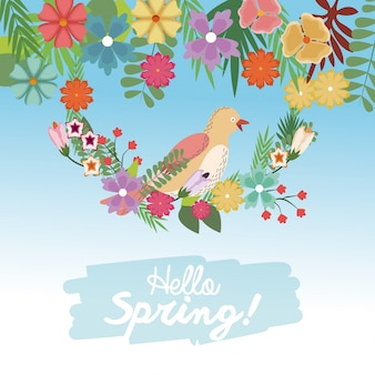 Olá, primavera, pássaro, ramo, flores, fofo, natureza, papel parede