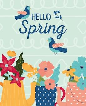 Olá primavera potes e vaso flores pássaros cartão de celebração