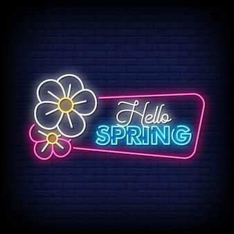 Olá primavera sinais de néon estilo texto