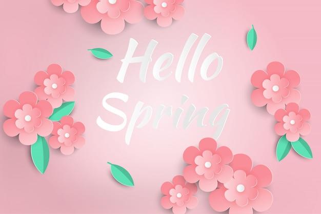 Olá primavera venda fundo com flores de papel bonito. Vetor Premium