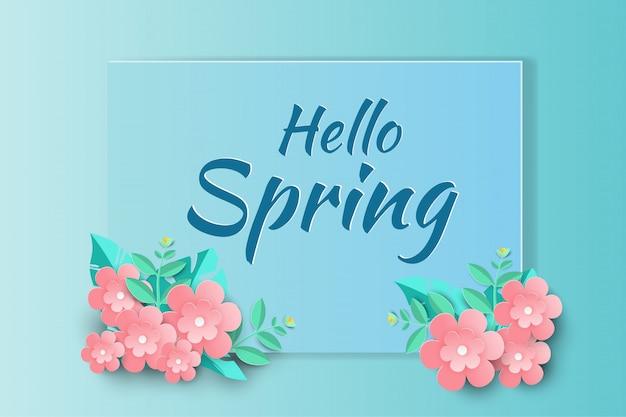 Olá primavera venda fundo com flores de papel bonito.