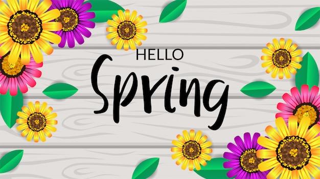 Olá primavera vista superior flor flor na madeira