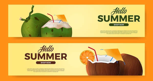 Olá promoção de banner de verão com bebida de coco realista 3d