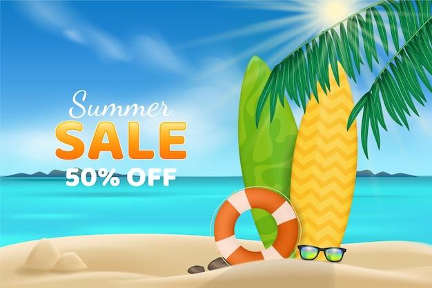 Olá realista conceito de venda de verão