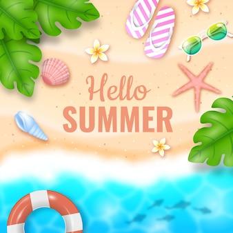 Olá realista conceito de verão