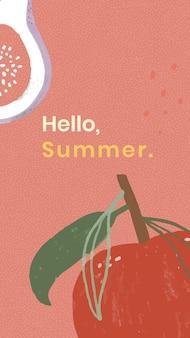 Olá, recurso de design de modelo frutado de verão