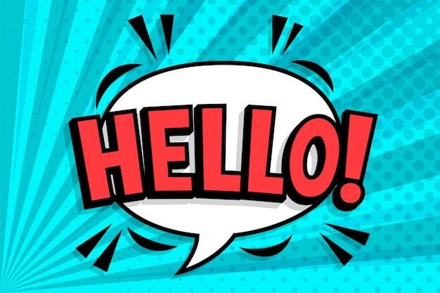 Olá!. redação no balão de fala em quadrinhos no estilo pop art