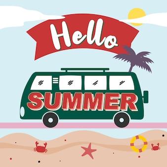 Olá rotulação de verão e ilustração