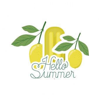 Olá rótulo de verão com sorvete de limão