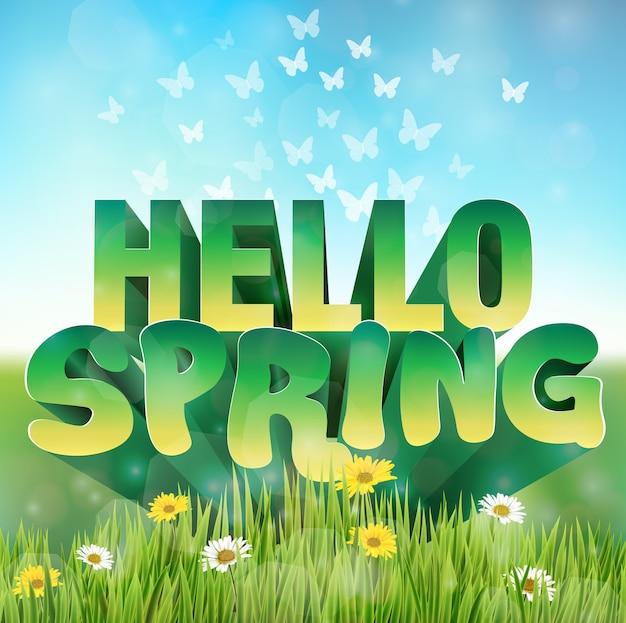 Olá saudação de primavera com margaridas flores na grama Vetor Premium