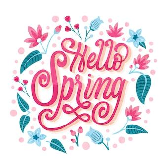 Olá saudação de rotulação de primavera em tinta rosa