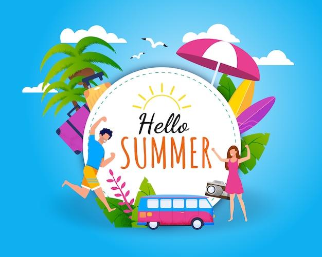 Olá saudação de verão e convite tropical flat card