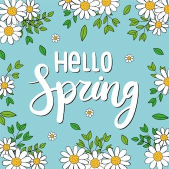 Olá sazonal tipografia de primavera