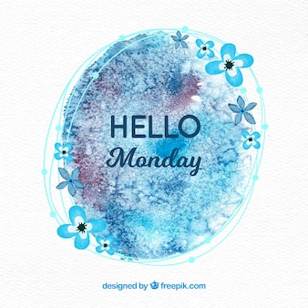 Olá segunda-feira com aquarelas