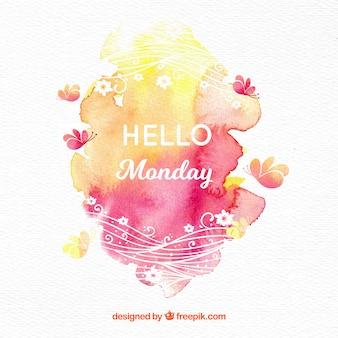 Olá segunda-feira com manchas de aquarela