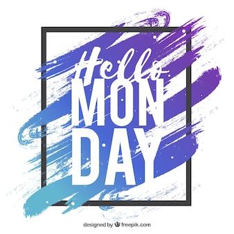 Olá segunda-feira, com tinta e um quadro preto