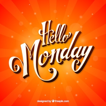 Olá segunda-feira, fundo laranja