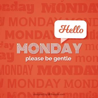 Olá segunda-feira, fundo vermelho