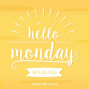 Olá segunda-feira, letras brancas sobre fundo amarelo