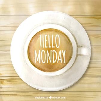 Olá segunda-feira, xícara de café