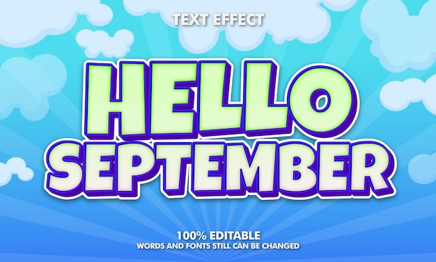 Olá, setembro, efeito de texto editável