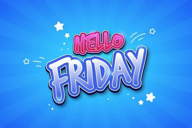 Olá sexta feira fundo azul