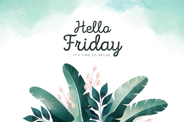 Olá sexta-feira, fundo com folhas Vetor Premium