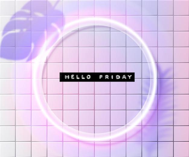 Olá, sexta-feira, texto em relevo em moldura redonda de néon branco em azulejos holográficos rosa e roxos