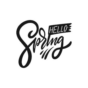 Olá, sinal de primavera. tinta preta. ilustração vetorial isolado