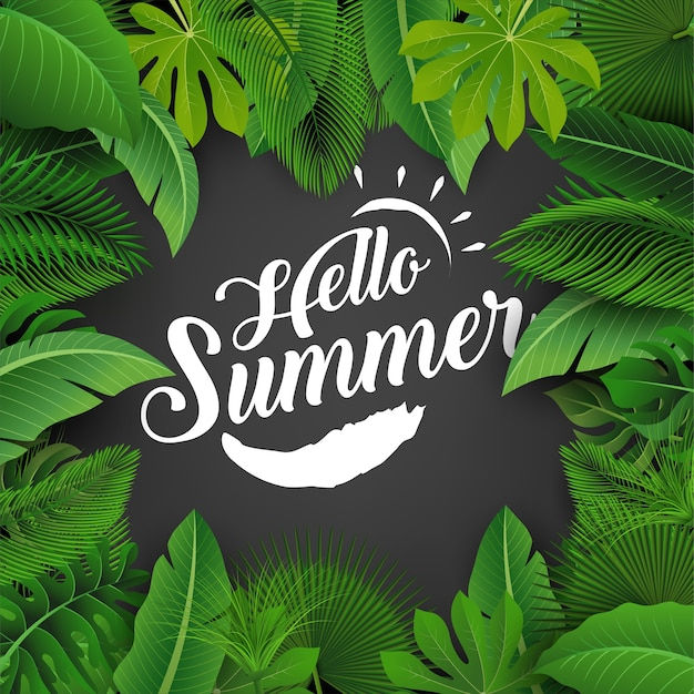 Olá sinal de verão com folhas tropicais