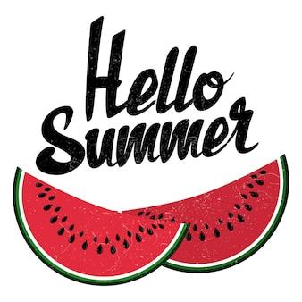 Olá sinal de verão e melancia brilhante isolado