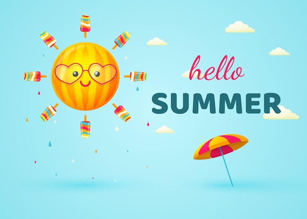 Olá sol de verão com raios de guarda-sol de sorvete no azul