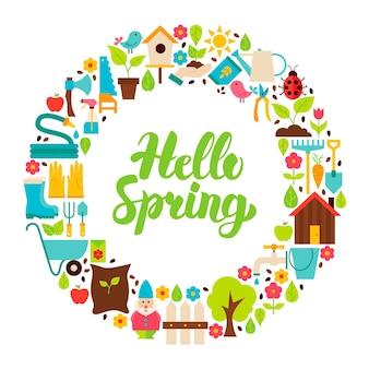 Olá, spring flat circle. conjunto de objetos de jardim da natureza com letras manuscritas.