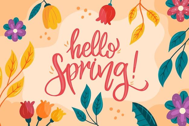 Olá tema colorido da primavera