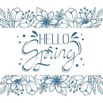 Olá tema de letras artísticas de primavera