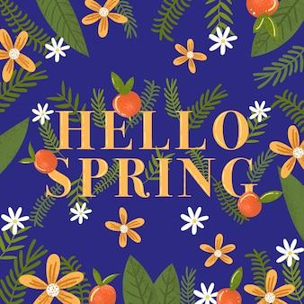 Olá tema de letras coloridas de primavera