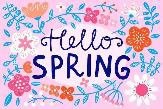 Olá tema de letras de primavera
