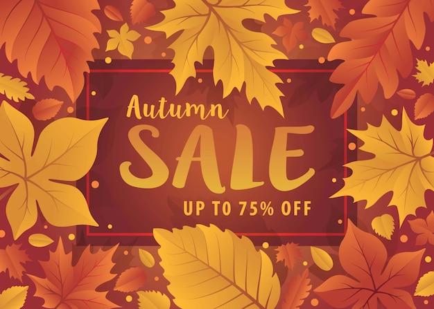 Olá temporada de outono. fundo de outono com folhas de outono. modelo de venda de outono com folha. banner de venda de compras,
