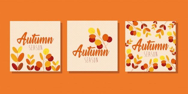 Olá temporada de outono pacote de cartões