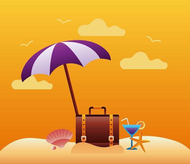 Olá, temporada de verão com mala e guarda-chuva no design de ilustração vetorial de cena de praia