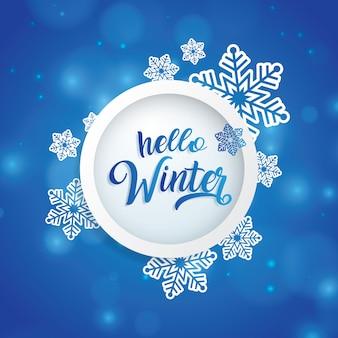 Olá texto de inverno no círculo