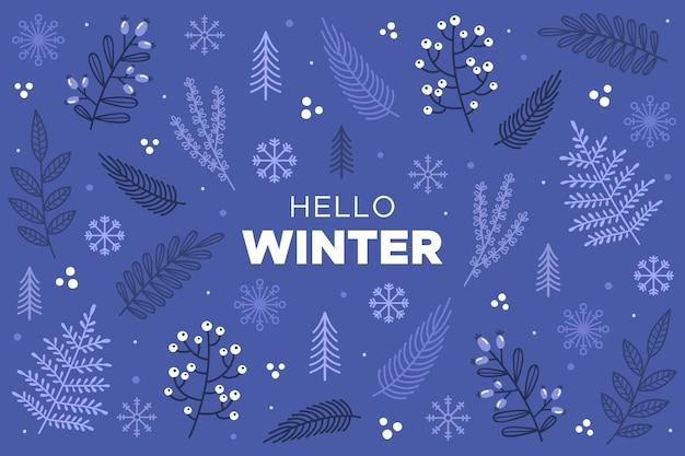 Olá, texto de inverno no fundo desenhado