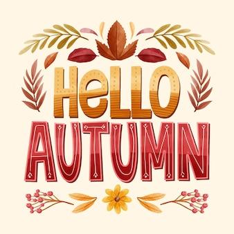 Olá texto de outono com elementos sazonais