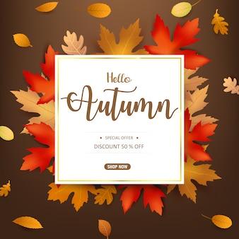Olá, texto de outono com folha seca