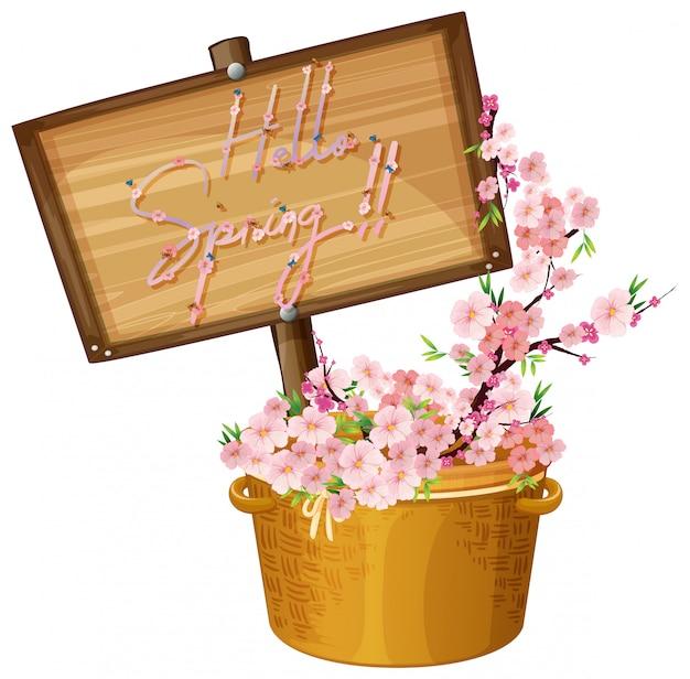 Olá texto de primavera com ilustração de flores